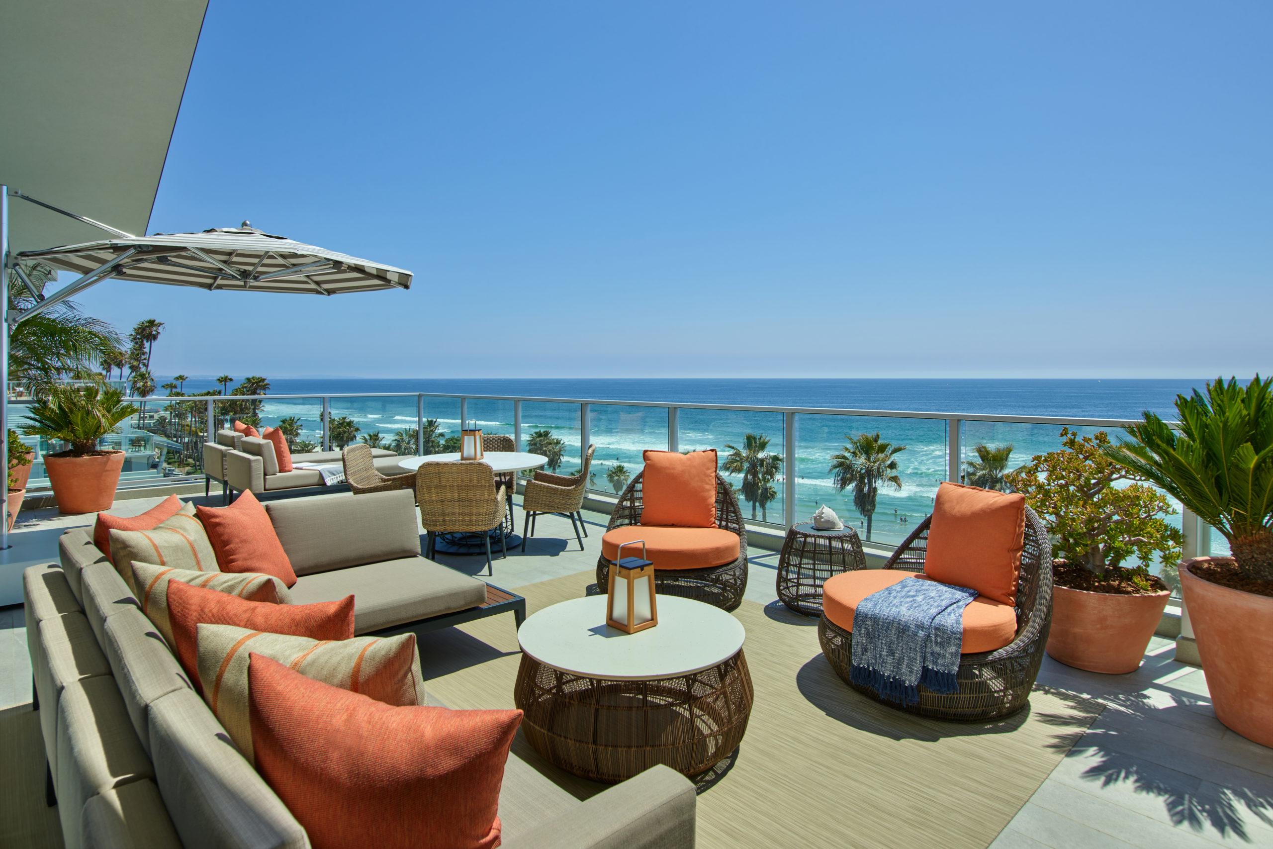 Patio Estate Suite sofas overlooking the sea